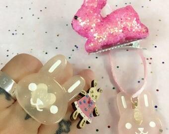 Pastel Goth Sweet Lolita Pink Glitter Bunny Gift Set