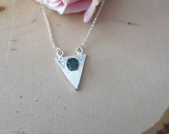 Sterling silver triangle druzy necklace, druzy necklace, druzy pendant necklace, triangle pendant necklace, geometric necklace