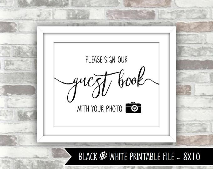 INSTANT DOWNLOAD - Abigail Collection Printable Wedding Photograph Guest Book Sign Photo Guestbook 8x10 Digital File Black White Calligraphy