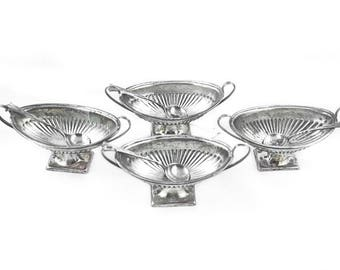 4 Antique Silver Open Salts - Sheffield 1896 Sterling Salters Original Spoons - Atkin Bros - Set of Four - Fine Dining - Tableware