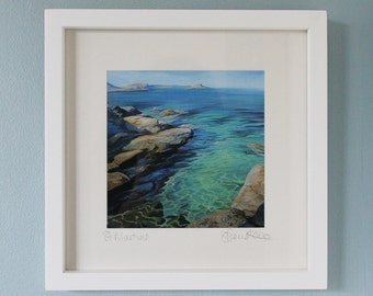 Framed print of St Martins, Isles Of Scilly, Cornwall, from an original acrylic painting, framed prints, Isles of Scilly print, Scilly Isles