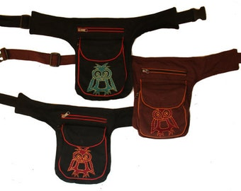 SALE 50% OFF Owl Utility belt  - Pockets - Belt Bag - Festival Bag - Cotton Pouch