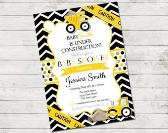 Construction Baby Shower Invitation - Under Construction - Chevron Stripes and Polka Dots - Black Yellow Grey - Printable