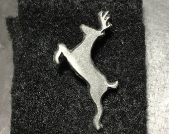 Aged Pewter reindeer hat pin tie tac