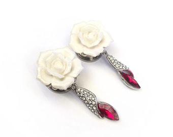 "SALE 16mm (5/8"") White Glitter Rose Gem Ear Plugs"