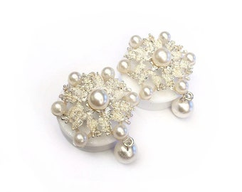 SALE 36mm Diamante Pearl Ear Plugs