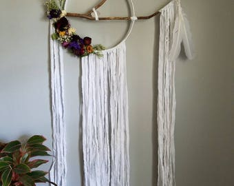 Large boho chic floral reiki infused dreamcatcher- crystal healing dreamcatcher CUSTOM MADE