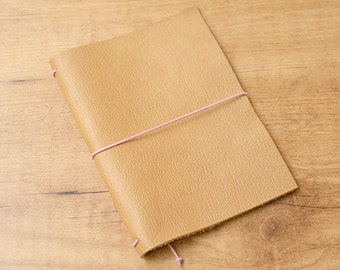 Handmade Leather Traveler's Notebook, Midori style in Passport / Pocket / A6 size - Sand