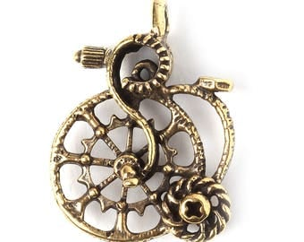 Brass penny farthing old bike pendant L3403(1). Handmade findings, jewelry, wheel. Designed and made by Anna Bronze.