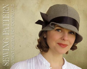 SEWING PATTERN - Tess, 1920s Twenties Cloche Fabric Hat for Child or Adult - Cancer Vintage