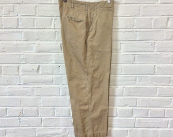 Vintage 1940s WWII US Army M37 M42 Double Stitched Chinos Cotton Khakis Trousers Pants. Size 30x26