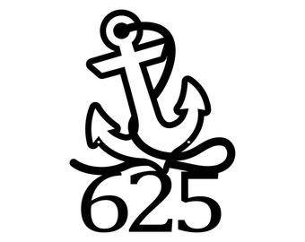 Nautical House Numbers - Metal, Black, 13x17.5, Laser Cut, Beach House, House Number, Address Sign, Nautical Decor, Address