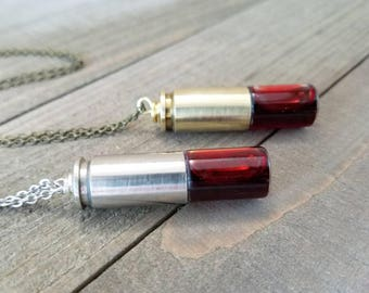 Blood vial necklace - bullet vial - vial necklace - vampire blood - bullet necklace - vampire vial - bullet jewelry - blood bottle necklace