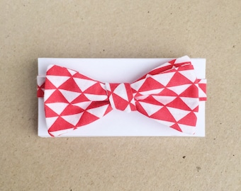 White Bow Tie with Red Triangles