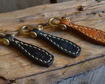 Brass Shackle Cowhide Key Ring