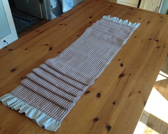Red Ticking FarmHouse Table Runner, homestead, farmstead, French country, linens,