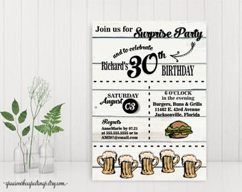 Men's Birthday Invitations, Cheers and Beers Invitation, Adult Men 30th Birthday Party, 40th, 50th, 60th,  digital, printable invite A7011