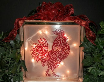Rooster Lighted Glass Block