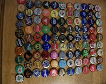FREE SHIPPING*** 100 pc Instant Collection Singles Lot Mixed Brands Used Recycled Beer Bottle Caps Upcycle Collage Bar Art
