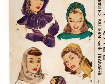 A Retro Hood, Hood with Capelet, Hat / Headwrap and Mittens Sewing Pattern for Women: Uncut - One Size • McCall 1358