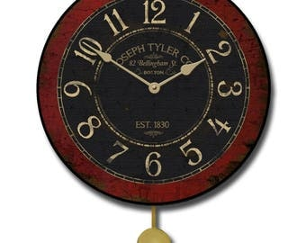Bellingham Red Pendulum Wall Clock