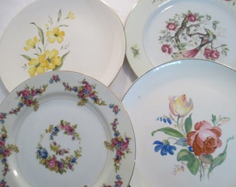 Vintage Mismatched China Dinner Plates w/Imperfections - Set of 4