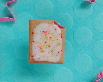 Strawberry Pop Tart w/ Rainbow Sprinkles Lapel Pin - Handmade Mini Food Dessert Candy Jewelry - Breakfast Collection
