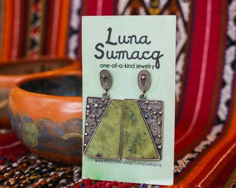 """GORGEOUS Peruvian serpentine + silver earrings """"Eat your greens"""""""