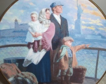 Collector plate, The Ellis Island Plate, Limited edition, Franklin Mint, 1991 Gateway to America by Max Ginsburg
