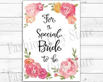 Pink Watercolor Peony Bridal Shower Card - DIY - Print Your Own Card - INSTANT DOWNLOAD