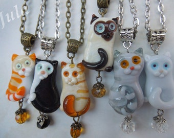 Cat, Pendant cat, Jewelry cat, Black cat, White cat, Gray cat, Ginger cat