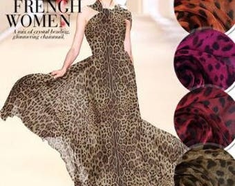 """SALE, 4 Color, Printed Leopard silk chiffon fabric, Scarf fabric, by 1M-53""""wide"""