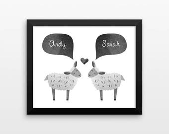SHEEP Couple Personalized Art Print, Housewarming Gift, New Home Gift for Couple, Valentines Gift, Lamb Couples Gift, Animal Couple Wall Art