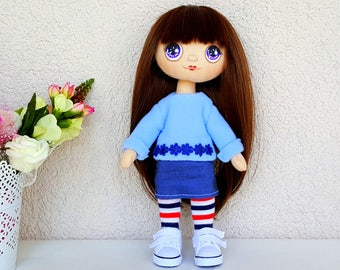 Jane Dress Up Doll Rag Doll Handmade Doll Fabric Doll Textile Doll Cloth Doll Handmade Toy Doll for Girl Big Eyes Doll Clothes Set (2)
