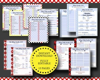 Disney World Disneyland Vacation Planner Kit Editable Digital File - Adobe PDF Reservations, Dining, Hotel, FastPass+, Packing Lists Trip