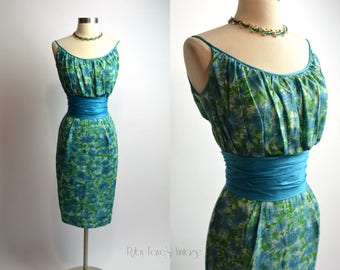 "1950's Vintage Turquoise Blue and Green Cotton Curve Hugging Wiggle Dress 24"" Waist XSmall"