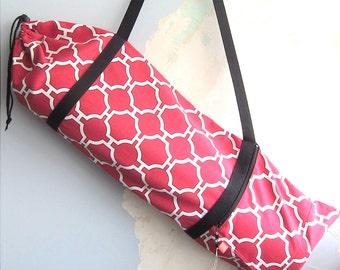 Yoga bag, Yoga mat bag, Yoga mat carrier - Fuchsia-red geometric - Medium-Large