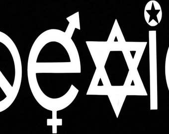 "White Coexist Religion World Peace Anti-War Window Decal 7"" x 2"""