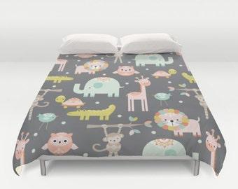 Animals Duvet Cover, Animals Comforter, Animals Duvet, Safari Duvet, Boys Duvet Cover, Jungle Duvet, Jungle Animals, Sons Bedroom, Giraffe