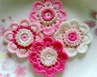 4 Crochet  Flowers With Pearl In 2 inches  Applies YH - 228-04