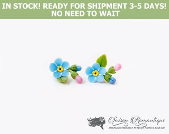 Ready for shipment - Earrings Forget-me-not - Polymer Clay Flowers