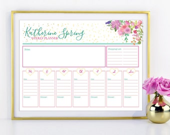 """Floral and Gold Weekly To Do Schedule - Personalized Customized Organizer 8.5"""" x 11.5"""" Planner Digital, Printable - Notes, to do, sketch pad"""