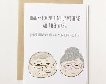 Funny Fathers Day Card - Thanks for putting up with me Fathers Day Card - Fathers Day Card Funny - Card for Dad Funny, Fathers Day Gift