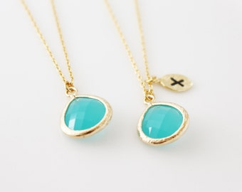 Mint Crystal necklace - Teardrop necklace - bridesmaids gift - gold crystal necklace - Initial Crystal Necklace