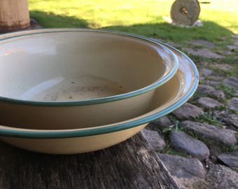 Swedish Kockums enamel bowl Beige bowl with mint green border Swedish vintage enamelware Cottage chic kitchen