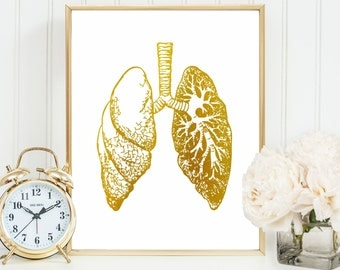 Lung Anatomy Art, Medical Student Wall Art, Doctor Gifts, Anatomical Lung Art, Anatomy Decor, Human Body, Faux Gold Foil, Science Poster