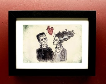 Frankenstein's Monster and Bride of Frankenstein Archival Art Print