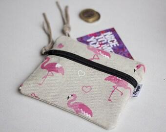 Small Woman Wallet, Cute Flamingo Coin Purse, Pink Zipper Pouch, Bohemian