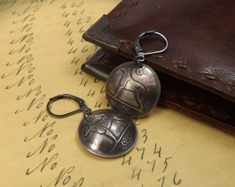 Genuine Irish Sixpence Wolfhound, Greyhound Coin Earrings on Gunmetal Lever Back Ear Wires, Coin Jewellery