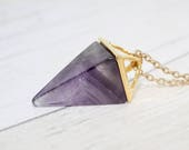 Amethyst Pendant Amethyst Geometric Necklace Amethyst Necklace Gift for Her Amethyst Jewelry Boho Necklace Birthday Gift Ladies Gift